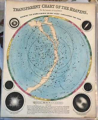 Rare Antique Celestial Chart Drawn By Emslie C1846 Chart Of The Heavens-Stars
