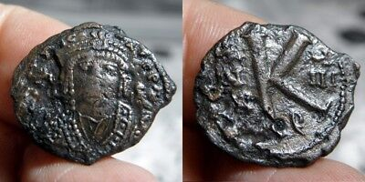 163  Byzantine - MAURICE TIBERIUS 582-602 A.D. - AE 1/2 FOLLES - DATED