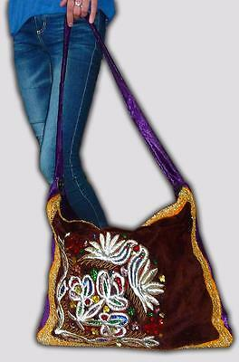 Magnificent Uzbek Gold Silk Handmade Embroidery Tote Bag From Bukhara M040