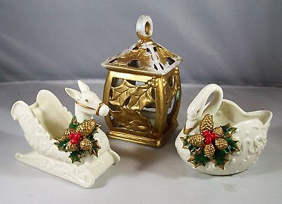 Lot of 3 Decorative Christmas Lantern  Glass Swan and Horse Sleigh with Holly