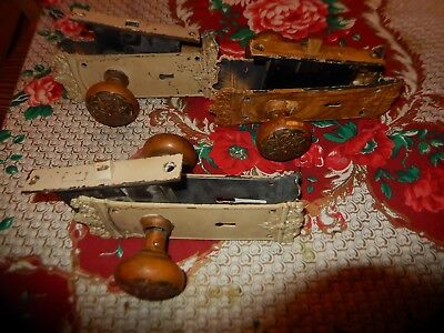 Antique Door Hardware Mortise Lock with Brass Knobs and Ornate Backing Plates 3