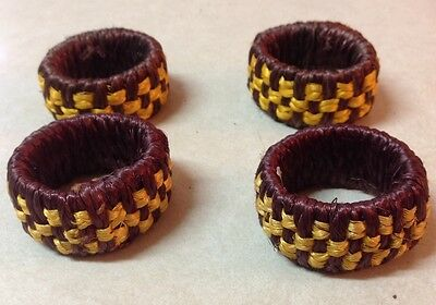 Vintage Paul Marshall Rattan Wicker Set 4 Napkin Rings Made In Philippines