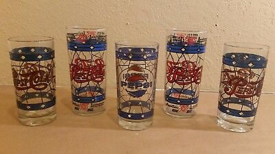 Lot of 5 Vintage Pepsi Cola Glasses Stained Glass Tiffany Style 75th Anniversary