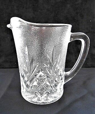 "Frosted Pineapple Cut Glass Creamer/Small  Pitcher - 5""H"