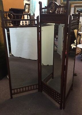 Rare Ca. 1890 American Cherry Stick And Ball Tailors Mirror Room Divider