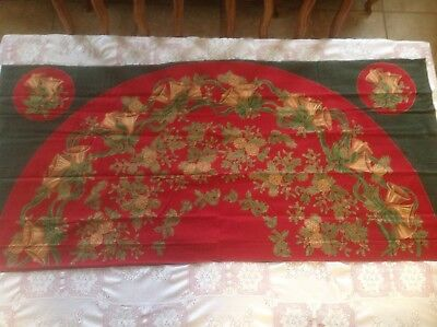 Red And Green Christmas Tree Skirt With Bells And Pine Cones and holly