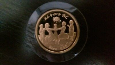 ETHIOPIA 1972 0.4968 Oz Gold Proof Coin Year of Child + 1 oz Silver Ballerina