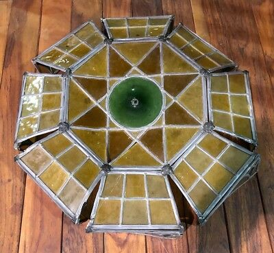 RARE Authentic LARGE Antique Original Leaded Stained Glass Lamp Shade Remnant