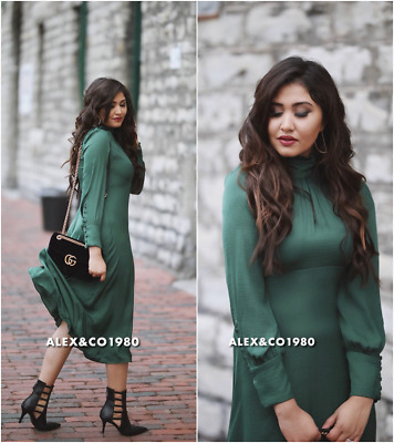 b584ee87 Nwt_Zara Aw17 Flowing Midi Dress With Long Sleeves Bottle Green 632_Xs,S,M,