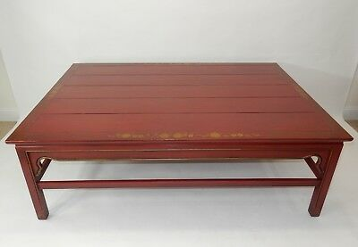 Gorgeous Hand Painted Red Chinoiserie Oriental Coffee Table 52""