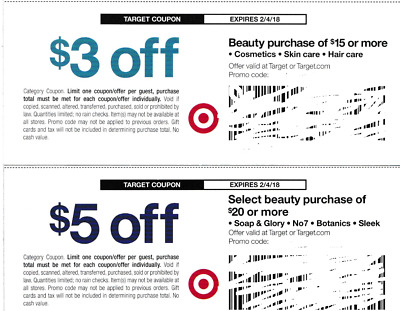 2 TARGET COUPONS - $3 off $15 & $5 off $20 Beauty Product Purchase, exp 2/4/18