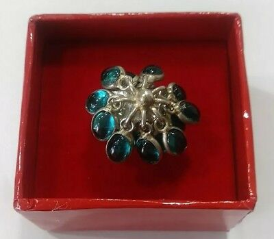 Vintage Mexico Sterling Silver Blue Stone Dangle Ring