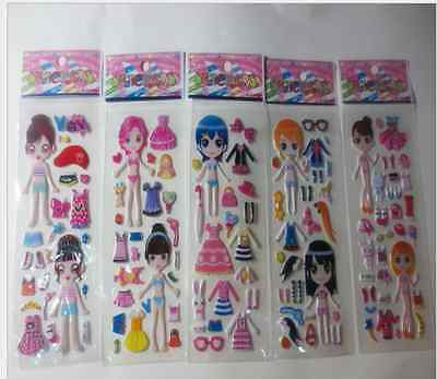 wholesale! Children Stereoscopic Stickers - Lot Of 5 girls'  favorite gift