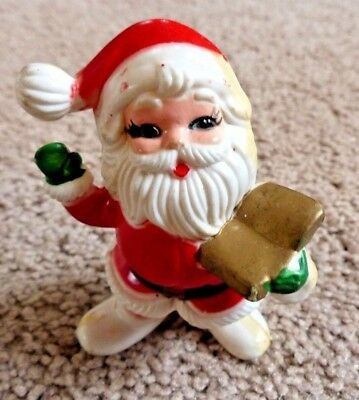 Vintage Plastic Hollow Body Santa Claus with Book Figurine