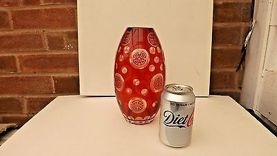 Unusual Antique Ruby Ground And Engraved Glass Vase Chinese Symbols