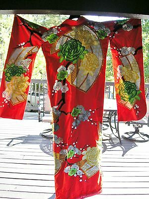 Vintage Red  Basketweave Silk Uchikake Japanese Wedding Kimono