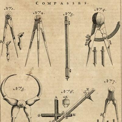 Compasses draw circles 1754 Thomas Jefferys engraved old print scarce