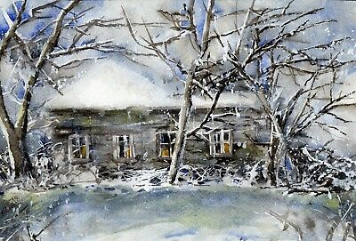"○°Original Aquarell,Watercolor,Winter Wald,Landschaft,Eis,Schnee, Waldhütte""°○"