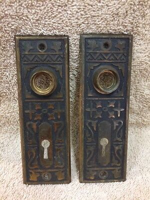 Antique Stamped Brass Victorian East Lake Doorknob Door Knob Back Plates