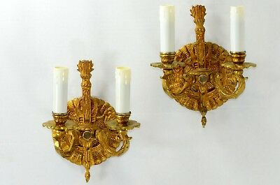 Wall Sconce Pair Gilt Brass Electric Candelabra Base