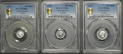 1937 Great Britain 3 Piece Silver Maundy Set - 1, 2 & 3 Pence PCGS PR66