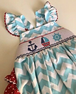Smocked Ruffle Bubble Romper 24 Months Southern Tots Nautical Chevron