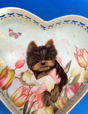 Hand Painted Yorkie Yorkshire  Heart  Metal Tray