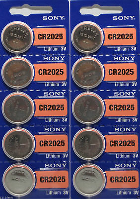 **FRESH NEW** 10 x SONY CR2025 Lithium Battery 3V Exp 2025 Pack 10 pcs Coin Cell