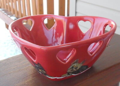 Hand Painted Yorkie Yorkshire  Heart  Ceramic Candy Dish
