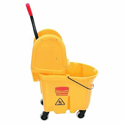 35-Quart Yellow Rubbermaid Commercial WaveBrake Down Press Combo Mop Bucket