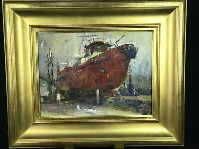Pang Yen Chou Nautical Red Boat Port IMPRESSIONIST Oil Painting Gold Gilt Frame