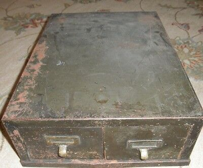 """Vintage MACEY 3"""" x 5"""" CARD FILE CABINET - TWO DRAWER Army Green Metal Industrial"""