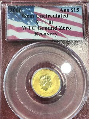 2000 Australian 1/10oz Gold Nugget Coin PCGS Recovered from WTC Ground Zero
