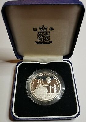 1994 Bahamas Royal Visit Silver Proof Commemorative Coin In Box