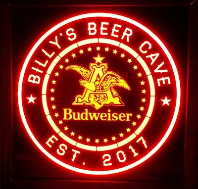 Custom Personalized Budweiser Light 12 x 12 Multi color LED Sign box with remote