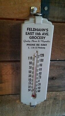 RARE Antique Vintage Grocery Advertising Thermometer Early Phone # ART DECO