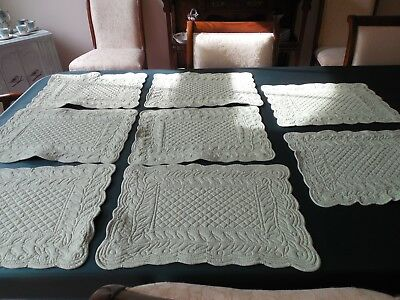 WAVERLY GARDEN ROOM VINTAGE pale green PLACEMATS, LOT OF 8,reversible