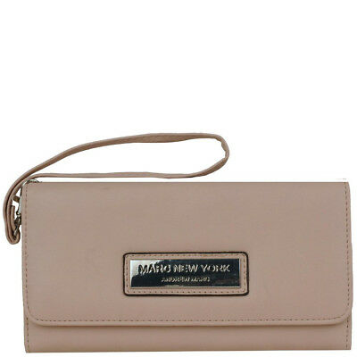Marc New York Flap Over Faux-Leather Wristlet Wallet Taupe Beige