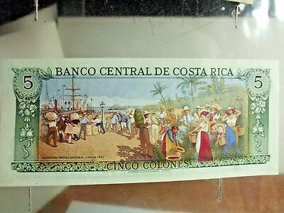 Costa Rica 5 Colones - National Theater/p236d UNC + Colombia 500 circ bill