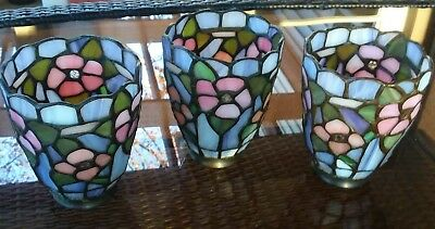 Tiffany Style Floral Stained Glass Ceiling Fan/Lamp Globes/Shades (Set of 3)