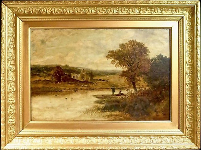 19th CENTURY FRENCH LANDSCAPE OIL ON CANVAS ANTIQUE PAINTING GILT FRAME