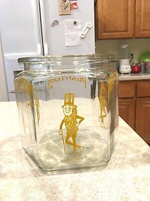 Vintage Planters Peanut Hexagon Jar With Yellow Graphic (Sorry No Lid)