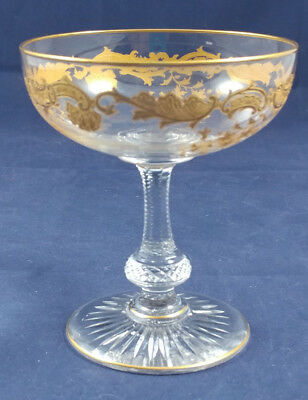 """Vintage St Louis Cut Crystal Massenet Clear Gold Encrusted Champagne 4 1/2"""""""