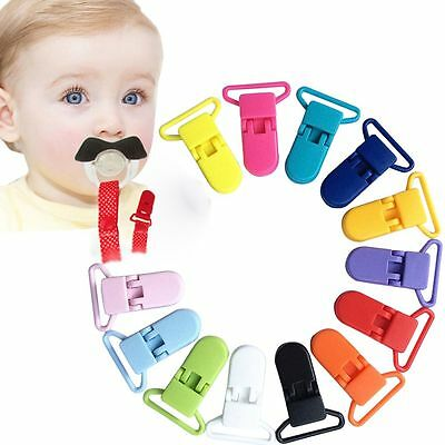 10pcs Colored Plastic Suspender Soother Pacifier Holder Dummy Clips For Baby