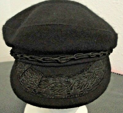 Vintage Black Small Brim and Embroidery Men's Greek Wool Fisherman Hat