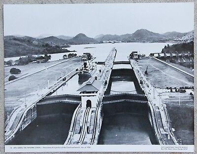 RARE Vintage 11x14 Photograph Portion of Panama Canal & Terrain in January 1938