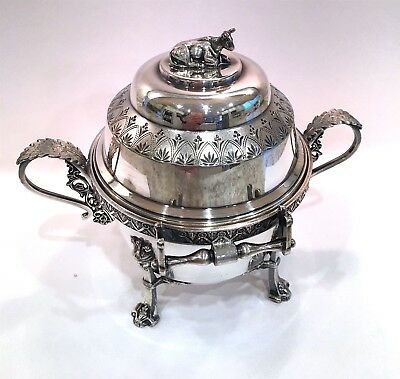 SILVER QUADRUPLE PLATE BUTTER DISH w COW FINIAL-EGYPTIAN FACED LEGS+Liner~c.1885