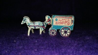 Nice Early Cracker Jack Angelus Marshmallow Metal Horse & Wagon Premium Prize