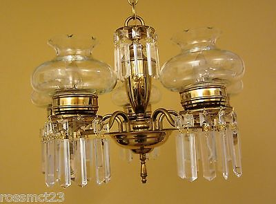 Vintage Lighting circa 1950 crystal chandelier Cut Glass Shades