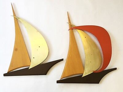 Vintage Pair 1960's Sailboat Wall Art Sculpture Mid Century Danish Modern Eames